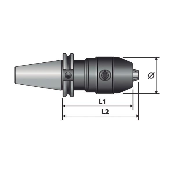 Portabrocas Llambrich BT con cono integrado y llave hexagonal HEXA BLACK