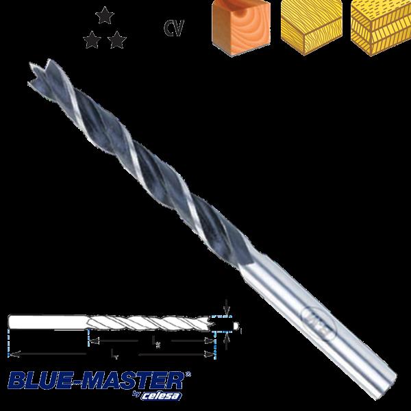 Broca para Madera Blue-Master de tres Puntas Serie Extra Larga