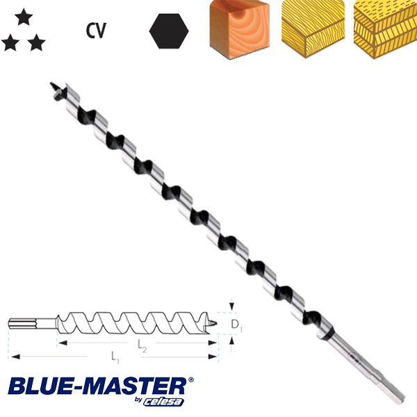 "Broca para Madera Blue-Master CV Tipo ""S"" Serie Larga"