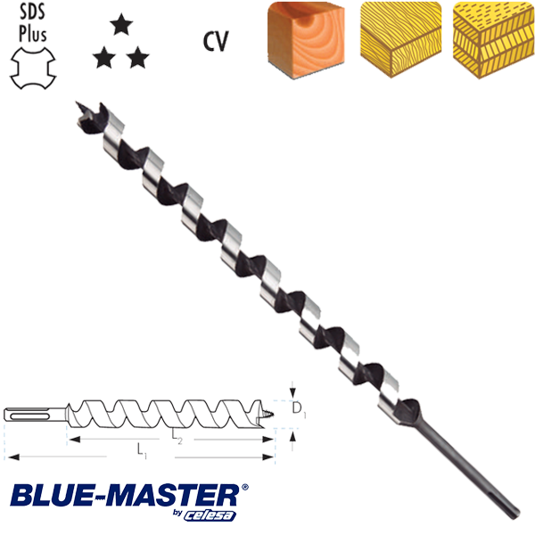 "Broca para Madera Blue-Master CV Tipo ""S"" SDS Plus Serie Extra Larga"