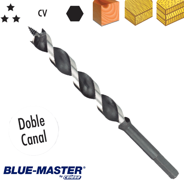 Broca para Madera Blue-Master con Doble Canal