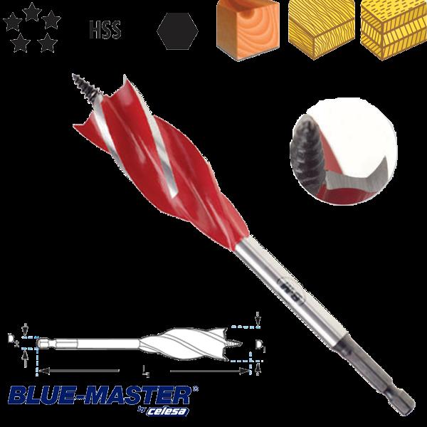 """Broca de Nueva Generación Blue-Master 4 Puntas para Madera Tipo Castor con Mango Hexagonal 1/4"""""""