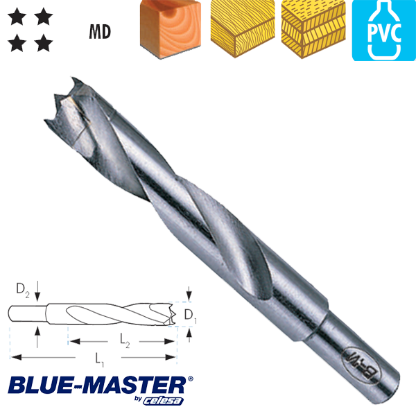 Broca con 3 Puntas Blue-Master de Metal Duro para Madera