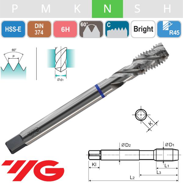 Macho Helicoidal HSS-E Aluminio Métrica Fina