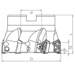 Fresa de escuadrar TK90° 3PKT1505.. con ángulo 90º Adaptable para 3PKT1505