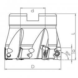 Fresa de escuadrar TK90° AX12 con ángulo 90º Adaptable para AXMT1235