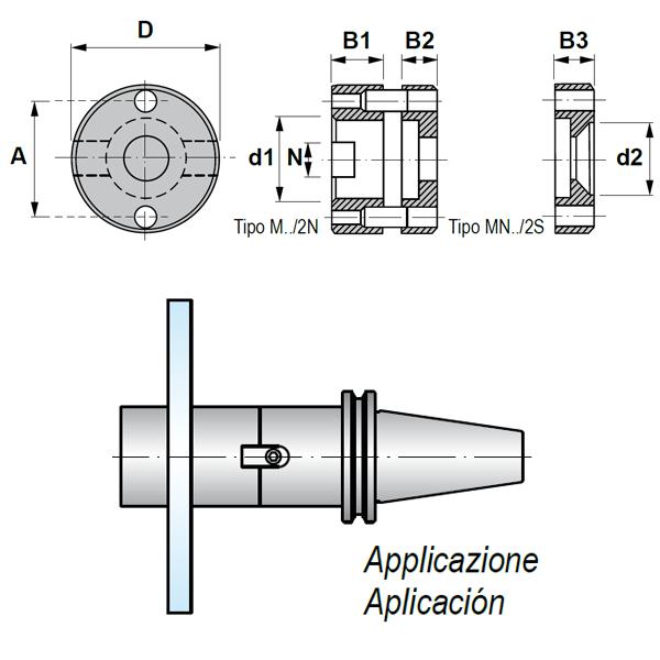 Adaptador de anillos con Ranura Transversal para Fresa 2942.90.