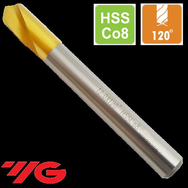 Broca Centrar CNC 120º Acero al Cobalto HSSCo8 Recubrimiento TIN
