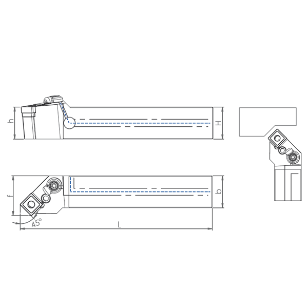 External Coolant Turning Holder PSDNN-PH(45°)