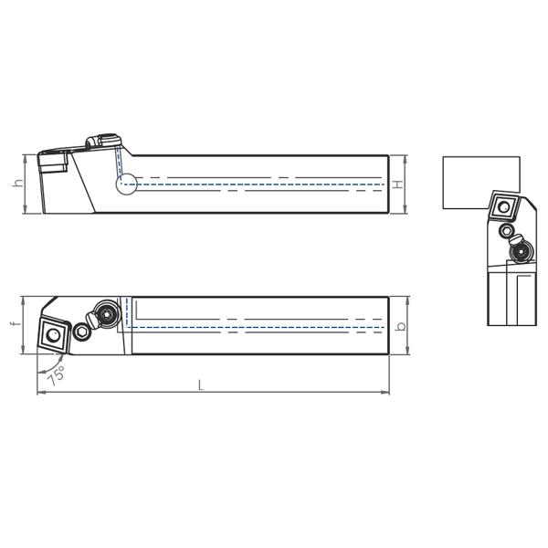 External Coolant Turning Holder PCBNR/L-PH (75°)