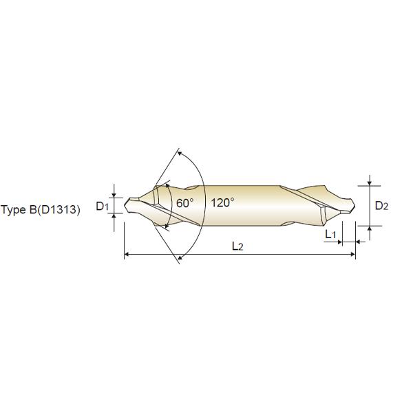 Broca de Centar 60º + 120º HSS, Tipo B