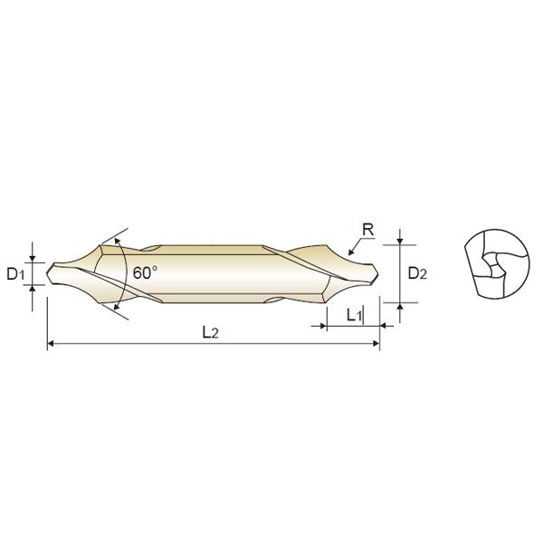 Broca de Centar 60º HSSEX, Tipo R / FLAT