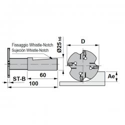 Fresa circular con autofijación mediante doble prisma y punto de referencia fijo