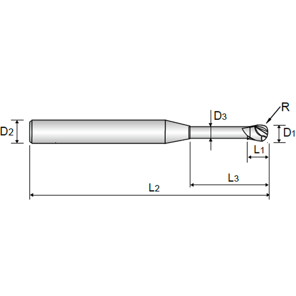 2 FLUTE BALL NOSE for RIB PROCESSING