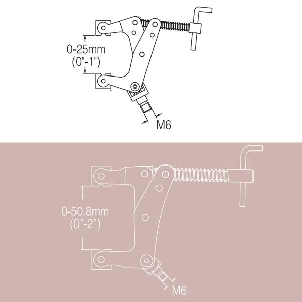 """Noga Brida-Sargento 2"""" DG0125 Rosca Extensible M6 x 6.5"""